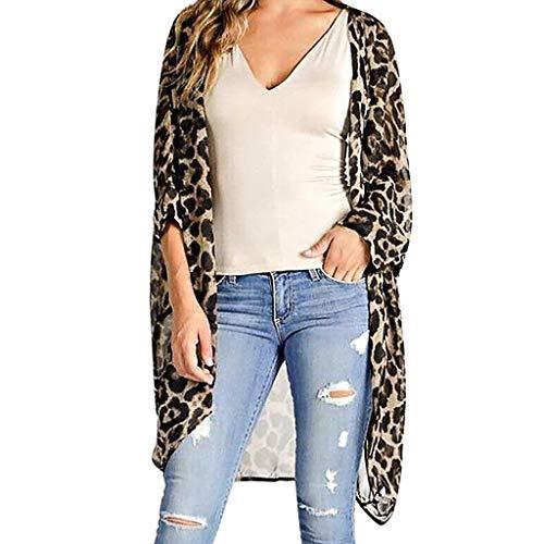 Lose beiläufige Oberseite T-Shirt Bluse Mittlere Hülse der Frauen Chiffon- Leopard-Druck-Wolljacke-Kittel-einfache Blusen-Oberseiten (Leopard Kittel)
