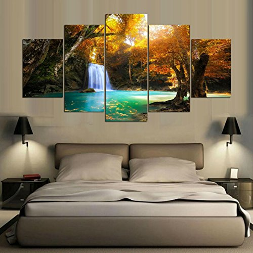 Printed Landscape Modular Picture Canvas Painting For Bedroom Living Room Home Wall Art Decor 5 Panel Beautiful Waterfall ,30x40 30x60 30x80cm,Frame