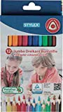 Stylex 25092Jumbo matite colorate, senza legno, Set di 12