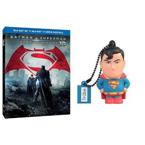 Batman V Superman: Dawn of Justice (Blu-Ray + Blu-ray 3D) + Chiavetta Tribe DC Comics Superman USB Stick 8GB