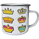 Corona Nueva Con Diseño Plano Retro, lata, taza del esmalte 10oz/280ml l590e