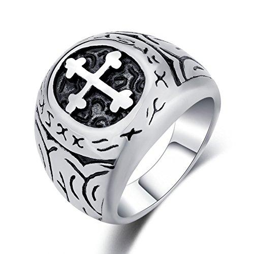 DALARAN Classic Cross Ring für Männer Oval Band religiöse Schmuck für Männer Frauen Hochzeit Verlobungsringe