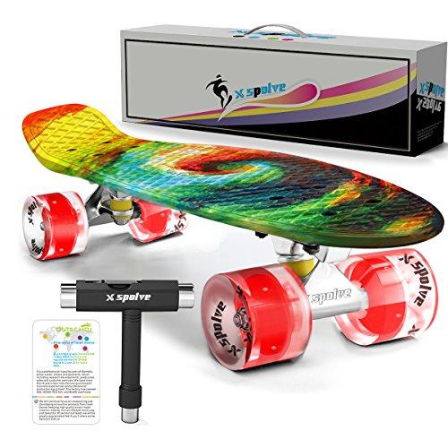 Xspolve 55cm Mini Cruiser Stil Skateboard mit Led-Leuchten für Kinder,Jugendliche,Erwachsene und Anfänger (Zeigen Kinder Shirt)