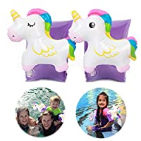Pro-Noke Inflatable Baby Arm Floats Unicorn Floatation Floating Sleeves Swim Arm Bands Circle Floaties for Kids Toddlers Infants 2-8 Years