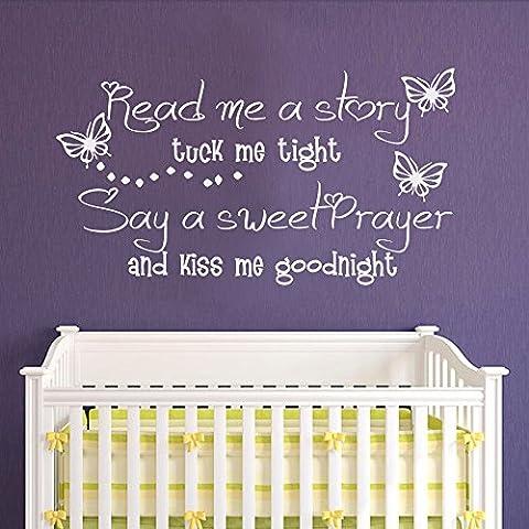Read me a story Tuck me in Tight dire una dolce preghiera e Kiss Me Goodnight decalcomania da parete con farfalle, Stanza dei bambini Ragazze Decalcomania da parete, Quotes, Vinile, Navy Blue, 22