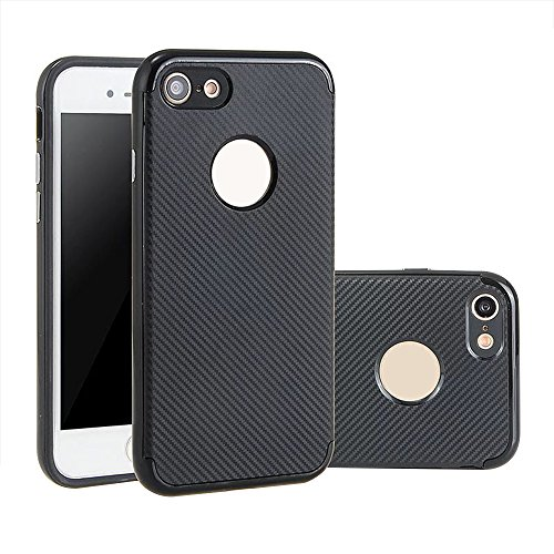iPhone 7 Hülle, Aohro Dünne Schutzhülle [Black TPU Silicone Carbon Design + PC Bumper] Back Cover Case Bumper für Apple iPhone 7, Schwarz (Black) Schwarz