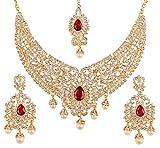 Touchstone New Indian Bollywood Desire Legendary Style Old Effetto Diamante Finto Rubino Grand Designer Nuziale Gioielli Set Collana in Oro Antico Tono per Le Donne
