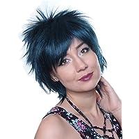 Prettyland C569 - peluca salvaje estilo de pelo corto fransig dio un paso hilos multicolores peluca de Cosplay - Negro Azul turquesa