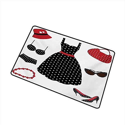 Kinhevao 1950er Jahre Inlet Outdoor Fußmatte Fifties Style Collection Damenmode Kleid Tasche Hut Fersen Schuhe Sonnenbrille Fang Staub Schnee und Schlamm, Rot Schwarz Weiß Badematte