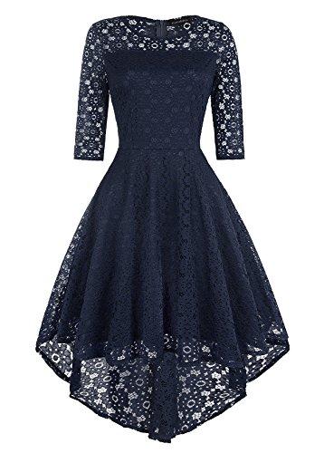 Klandchic Vintage SpitzenKleid mit 1/2-Ärmel Frack, Vokuhila Kleid mit Unterrock, Knielang...