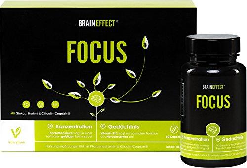 20% PRIME DAY RABATT - NUR HEUTE | BRAINEFFECT FOCUS | Natürlicher Booster mit Vitamin B5 für Konzentration und Gedächtnisleistung | OHNE Koffein + Vitamin B5 | 60 Kapseln | mit CDP-Cholin | vegan