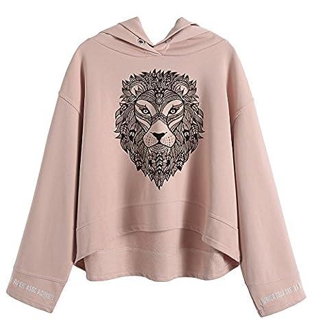 So'each Women's Lion Head Portrait Hoodie Sweatshirt Batwing Pullover