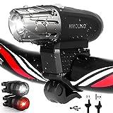 HIYOUNG USB Wideraufladbare Fahrradlicht und Rücklicht Set, LED Fahrradbeleuchtung Wasserdicht Stoßfest, 4 Licht-Modi USB Aufladbare Fahrradlichter für Mountainbikes, Straßenrädern,Camping