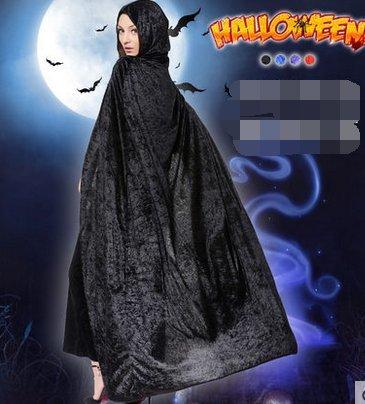 für WEIBLICHE erwachsene Kinder Schwarzer Tod der hexe Mantel mänteln cosplay - maskenballl(Schwarz) (Weiblichen Zauberer Kostüme)