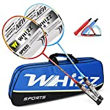 Badmintonschläger Set 2 Stk, 100% Carbon Fiber, 87g, Whizz S520 Graphit Schläger mit Tasche (Rot/Blau)