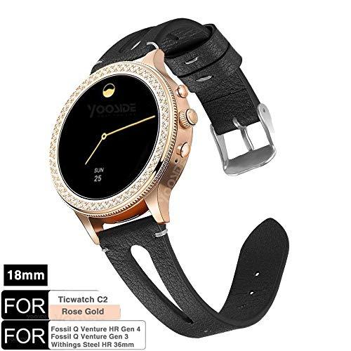 YOOSIDE für Fossil Q Venture Leder Armband,18mm Quick Release echtes Leder mit klassischem Verschluss-Uhrenarmband für Fossil Damen Venture, Withings Steel HR 36mm (Schwarz) -