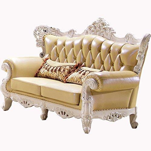 Ma Xiaoying echtem Leder und Luxus klassischen Collection 3-teiliges Set (Sofa, Stuhl und Liebesschaukel) hellgelb by MA Xiaoying - 4