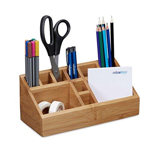 Relaxdays Schreibtischorganizer Bambus, Stifteköcher, 10 Fächer, natürliche Maserung, HxBxT: 10 x...