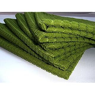 AeMBe - 6 Stück Microfaser Glanz-Geschirrtücher 40 x 60 cm Karomuster - Grüne