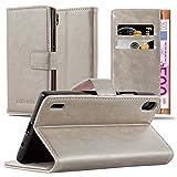 Cadorabo Hülle für Huawei P7 - Hülle in Cappucino BRAUN – Handyhülle im Luxury Design mit Kartenfach und Standfunktion - Case Cover Schutzhülle Etui Tasche Book