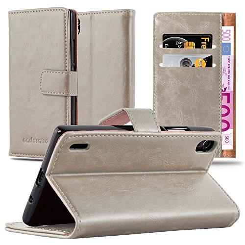 Preisvergleich Produktbild Cadorabo Hülle für Huawei P7 - Hülle in Cappucino BRAUN – Handyhülle im Luxury Design mit Kartenfach und Standfunktion - Case Cover Schutzhülle Etui Tasche Book