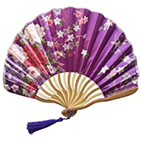 TREW Patroon Chinese stijl Hand Held Fans Silk Bamboo Folding Fans Handheld Wedding Hand Fan Cool Bamboo Bloem (Color : L)