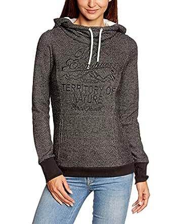 Urban Surface Damen Sweatshirt Sweat, weiter Kragen + Kapuze, Gr. 42 (Herstellergröße: XL), Schwarz (24000-black)