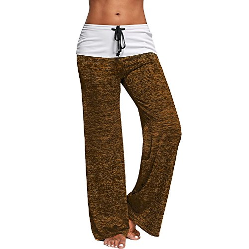 Elsta Yoga Hosen Damen Sommer Sport Stretch Slim Fit Weites Bein Hose High Waist Skinny Lässige breite Beinhose Plus Size Lose Hosen Elastische Taillek Capri Hose Freizeithose Pants