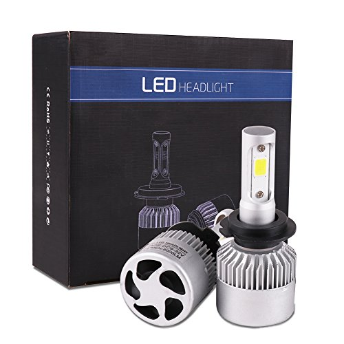 WOOCIKA H7 LED Faro Bombillas, H7 Bombillas LED COB Luces Delanteras del Coche Kit 8000 LM 6500K, Incorporado en Ventilador de Refrigeración IP65 Impermeable