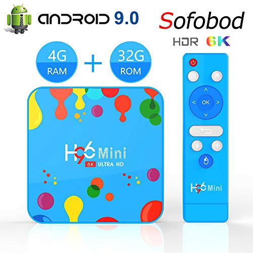 Sofobod H96 Mini H6 Smart TV Box Android 9.0 4GB RAM 32GB ROM, 6K H.265 Decoding, USB3.0, WiFi 2.4G/5G BT4.0 TV Box (EINWEG)