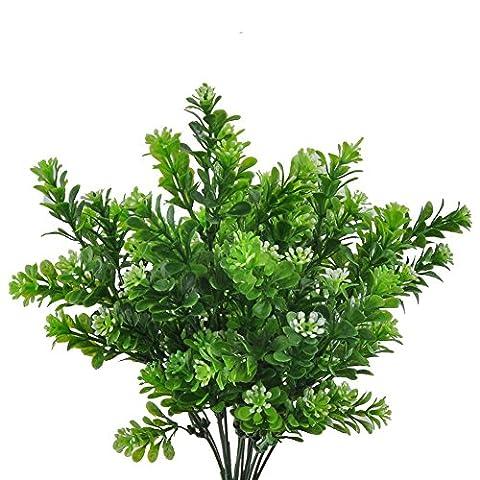 GEEDIAR 2Pcs Artificiel Feuilles Milan Herbe Feuilles Arbustes Plastique Jardin Décoration de Mariage 7 Branches / Bouquet
