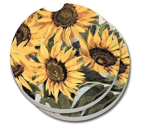 CounterArt saugfähig Steingut Auto Untersetzer, Sonnenblumen, Set von 2