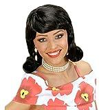 Parrucca nero corvino anni 50 60 acconciatura donna retrò capelli neri sintetici rockabilly