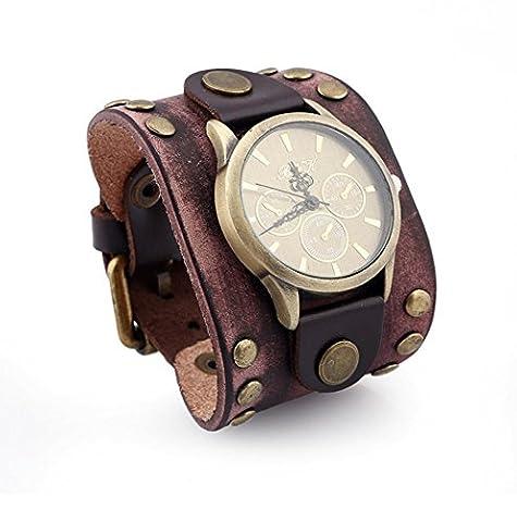 Caiyan Bracelet cuir en cuir punk vintage, montre , brown