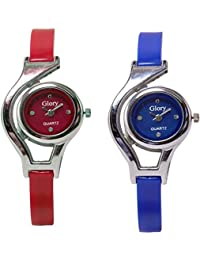Xurious Enterprise 2018 Collection Glory Red And Blue Stylish Watch (Combo Of 2 Watch) For Girls And Woman