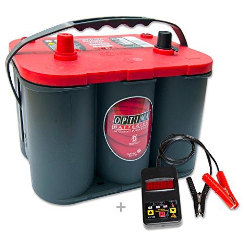 Preisvergleich Produktbild Optima Red Top RT S 4,2 - 12 V / 50 Ah - 815 A/EN inkl. Batterietester Auto KFZ Boot Caravan Versorgungsbatterie