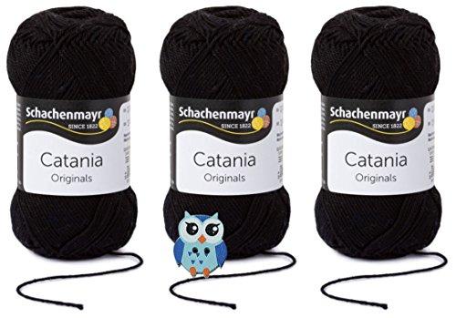 Schachenmayr Catania Wolle 3x50 Gr, 100{01a90f7e39a5bc4cd7dd7f506f8a05cc2b1b860adbbe1944bd48151fe41171cb} Baumwolle + 1 Eulen Knopf (Farbreihe 100-199) (110 Schwarz)