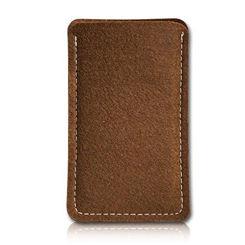 Filz Style Wiko Riff Premium Filz Handy Tasche Hülle Etui passgenau für Wiko Riff - Farbe hellbraun
