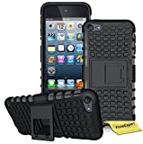 iPod Touch 5 Handy Tasche, FoneExpert® Hülle Abdeckung Cover schutzhülle Tough Strong Rugged Shock Proof Heavy Duty Case für Apple iPod Touch 5th Generation + Displayschutzfolie (Schwarz)