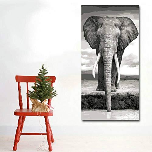 YCOLLC Lienzo de Pintura Impresiones en HD Animales Que pintan Elefantes Grises...