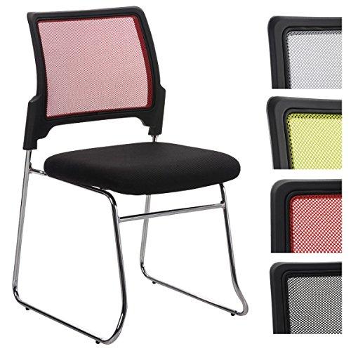 CLP Stapel-Stuhl / Besucherstuhl KANTON, Konferenzstuhl mit Netzbezug, Wartezimmerstuhl gepolstert Rot