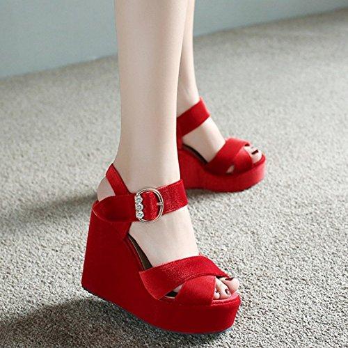 TAOFFEN Damen Elegant Peep-toe Keilabsatz Sandalen Buckle Slingback Shoes Rot
