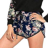 TINGSU - Pantalones cortos de yoga para mujer con correas de cuerda, para mujer, cintura media, elásticos, sueltos, pantalones cortos de cintura, pantalones cortos de dedo (negro, XL), color negro, tamaño X-Large