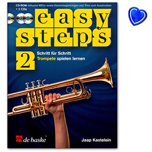 Easy Steps Band 2 für Trompete - Trompetenschule von Jaap Kastelein - Lehrbuch mit 2 CDs, CD-ROM und bunter herzförmiger Notenklammer - 9789043152204