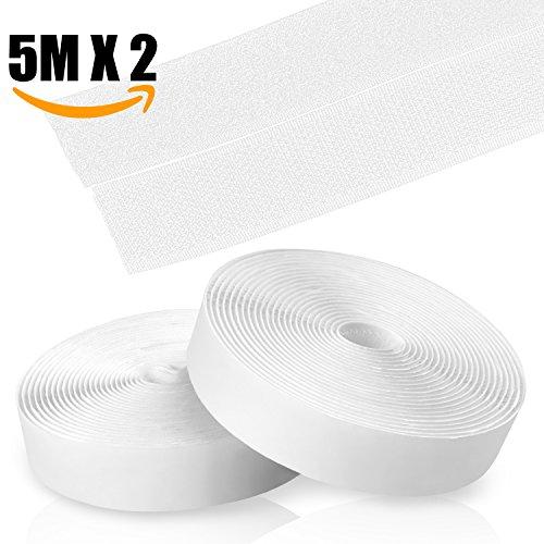 Kktick Hook y Loop Autoadhesivo Fuerte,Velcro Doble Cara,de vuelta Auto adhesivo cinta rollo,Cinta de Gancho y Bucle, 5m x 20mm (Blanco)
