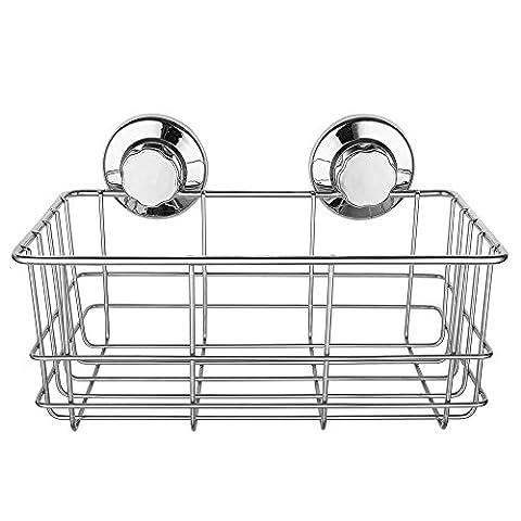 IPEGTOP Edelstahl Rostfrei Extra Hoch Küchenspeicher Organisator Badezimmer Duschen Aufbewahrungskorb Saugnapf 26,5 x 14 cm x 11,5 cm