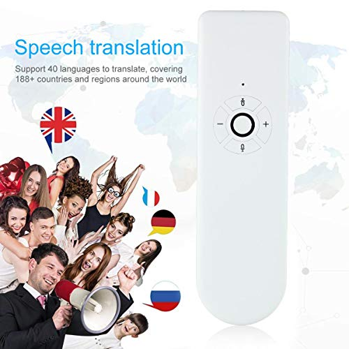 Lesgos Portable Handheld Intelligent Smart Voice Language Translator Device , Instant Offline Support 40 Languages for Learning Shopping Travel Business, Standard Size, White