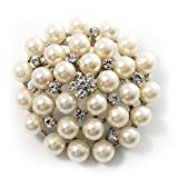 Snow White Glass Pearl Corsage Brooch