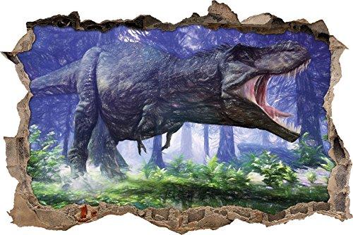 T-Rex Dinosaurier im Wald Kunst Buntstift Effekt Wanddurchbruch im 3D-Look, Wand- oder Türaufkleber...