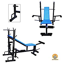 GB Product Combo70Kg Multipurpose 8 In 1 Gym Bench For Gym Exercise (Blue_Small)